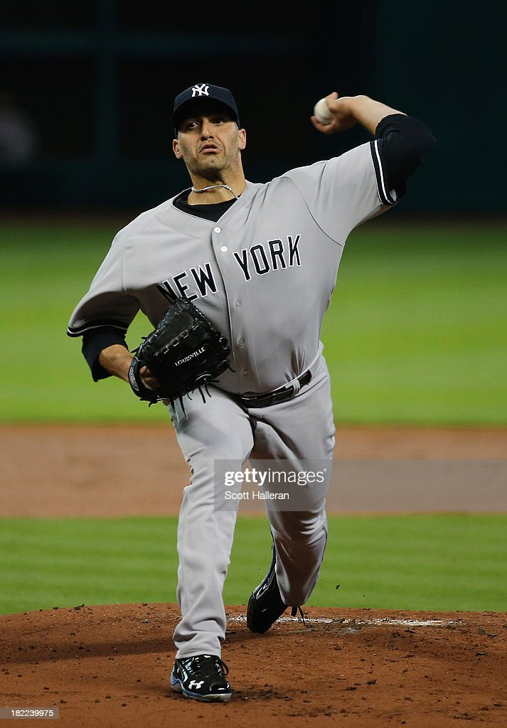 Andy Pettitte #46 of the New York Yankees throws a pitch in the first inning against the Houston Astros at Minute Maid Park on September 28, 2013 in Houston, Texas.