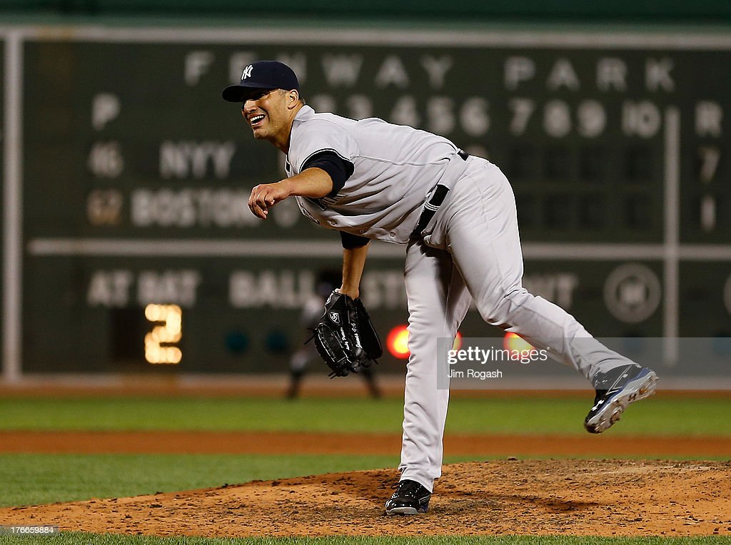 <a gi-track='captionPersonalityLinkClicked' href=/galleries/search?phrase=Andy+Pettitte&family=editorial&specificpeople=201753 ng-click='$event.stopPropagation()'>Andy Pettitte</a> #46 of the New York Yankees throws against the Boston Red Sox in the 6th inning at Fenway Park on August 16, 2013 in Boston, Massachusetts.