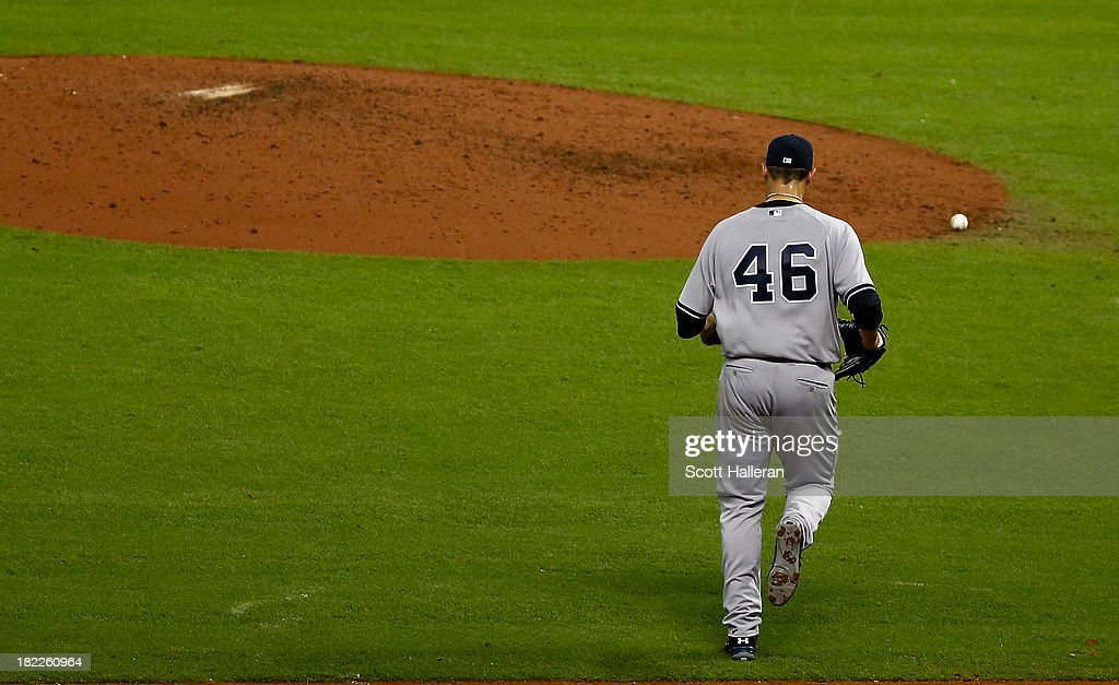Andy Pettitte #46 of the New York Yankees walks to the mound in the bottom of the ninth inning against the Houston Astros at Minute Maid Park on September 28, 2013 in Houston, Texas.