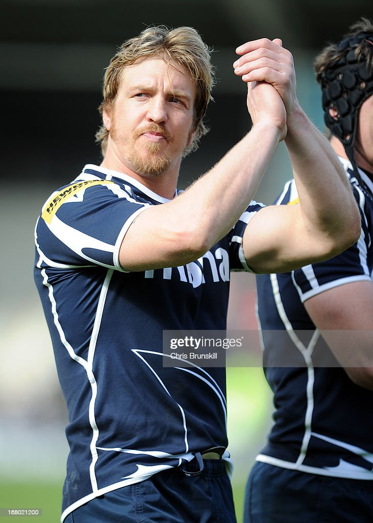 Andy Powell of Sale Sharks applauds the supporters following the Aviva Premiership match between Sale Sharks and London Wasps at the Salford City Stadium on May 04, 2013 in Salford, England.