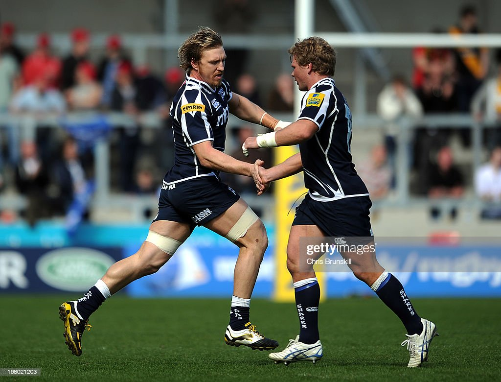 Andy Powell of Sale Sharks replaces team-mate Dan Braid during the Aviva Premiership match between Sale Sharks and London Wasps at the Salford City Stadium on May 04, 2013 in Salford, England.