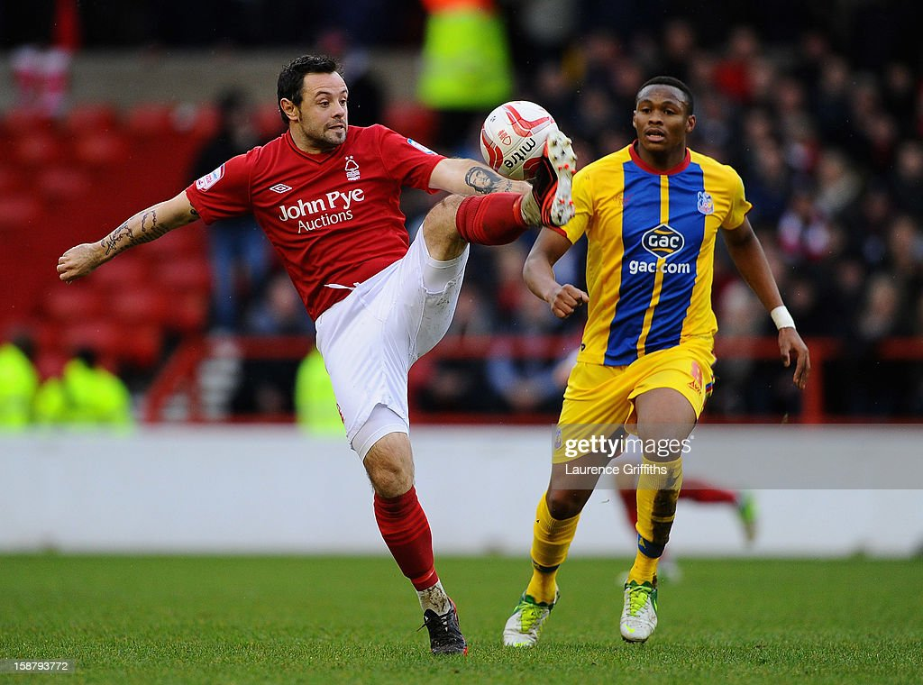 Andy Reid of Nottingham Forest battles with Kagisho Dikacoi of Crystal Palace during the npower Championship match between Nottingham Forest and Crystal Palace at City Ground on December 29, 2012 in Nottingham, England.