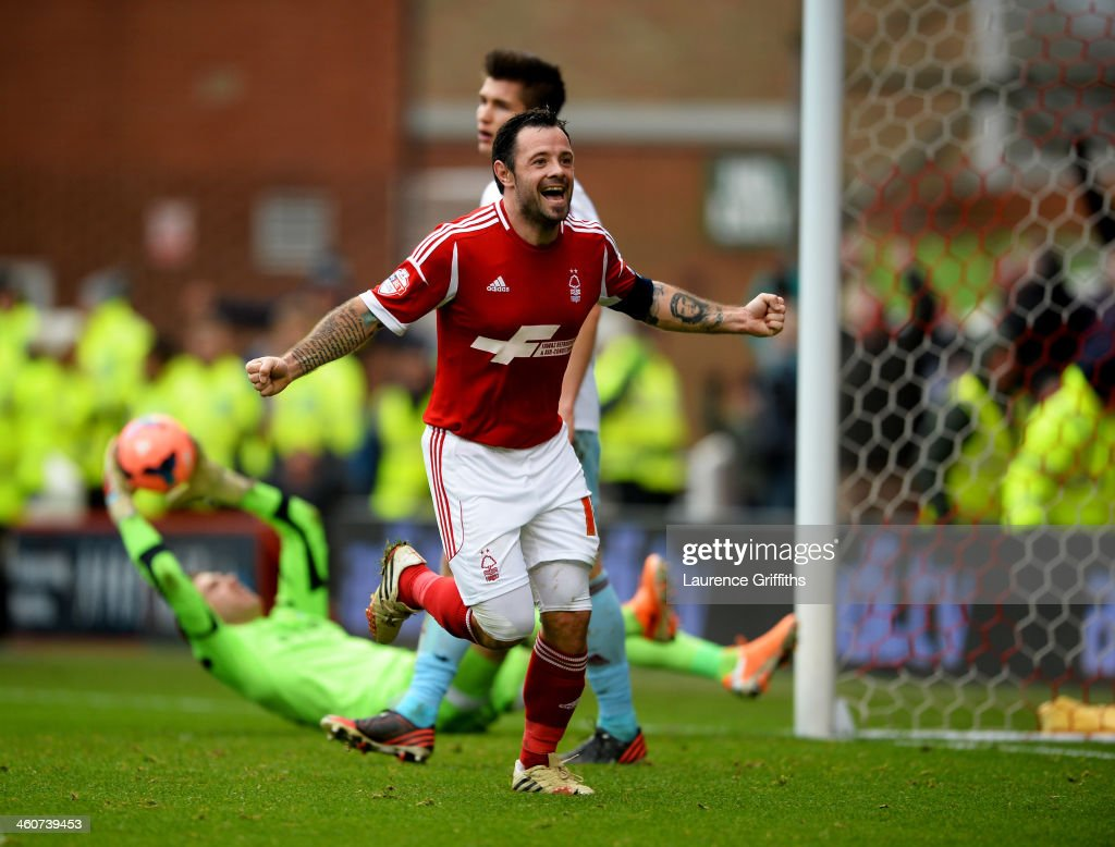 Andy Reid of Nottingham Forest celebrates as he scores their fifth goal during the FA Cup with Budweiser Third round match between Nottingham Forest and West Ham United at City Ground on January 5, 2014 in Nottingham, England.
