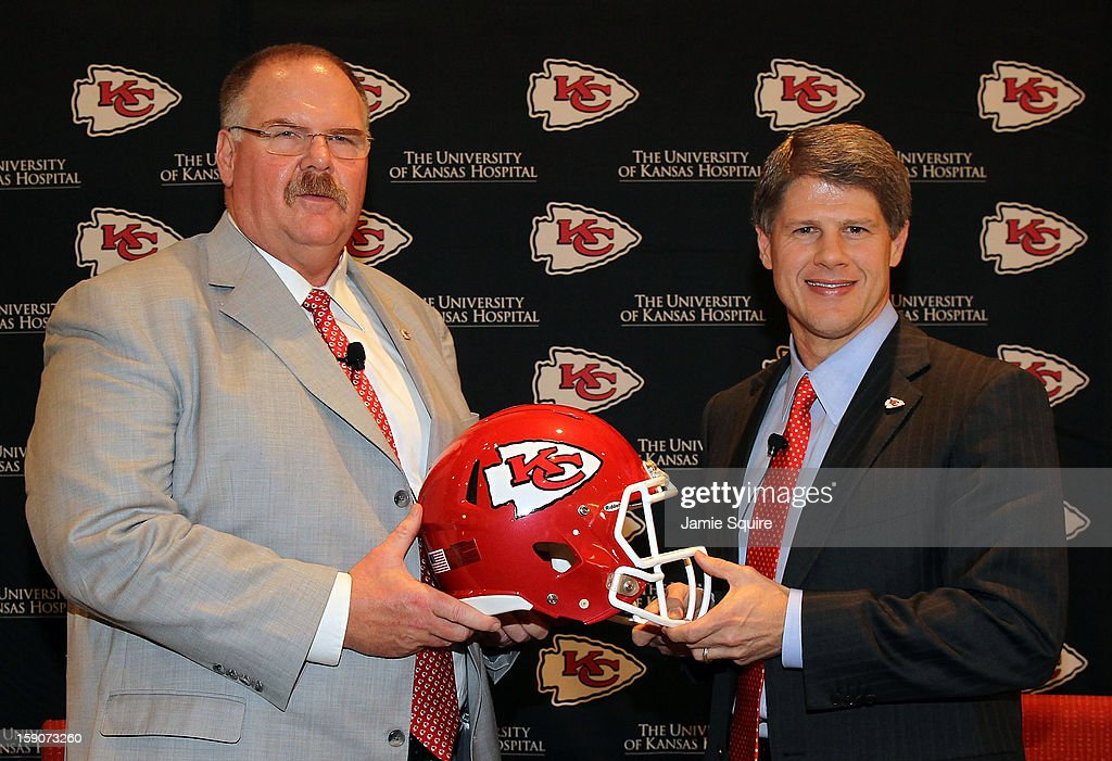 Andy Reid poses with Kansas City Chiefs owner Clark Hunt during a press conference introducing Reid as the Kansas City Chiefs new head coach on...