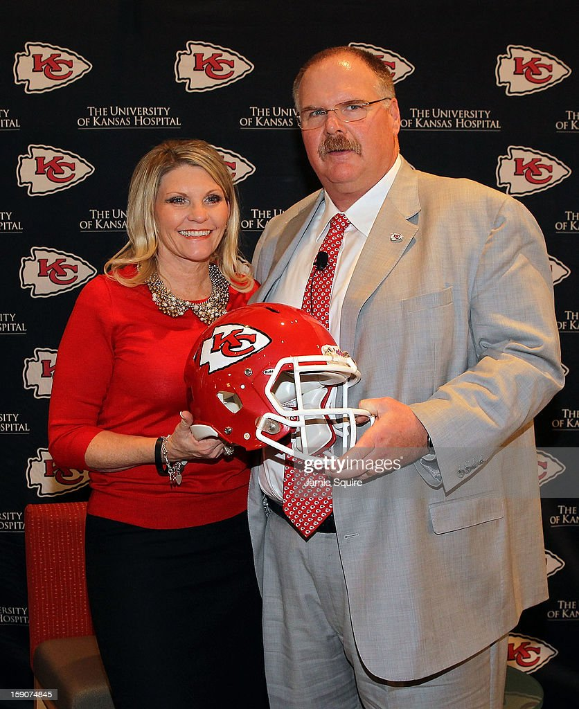 Andy Reid poses with wife Tammy during a press conference introducing Reid as the Kansas City Chiefs new head coach on January 7, 2013 in Kansas City, Missouri.
