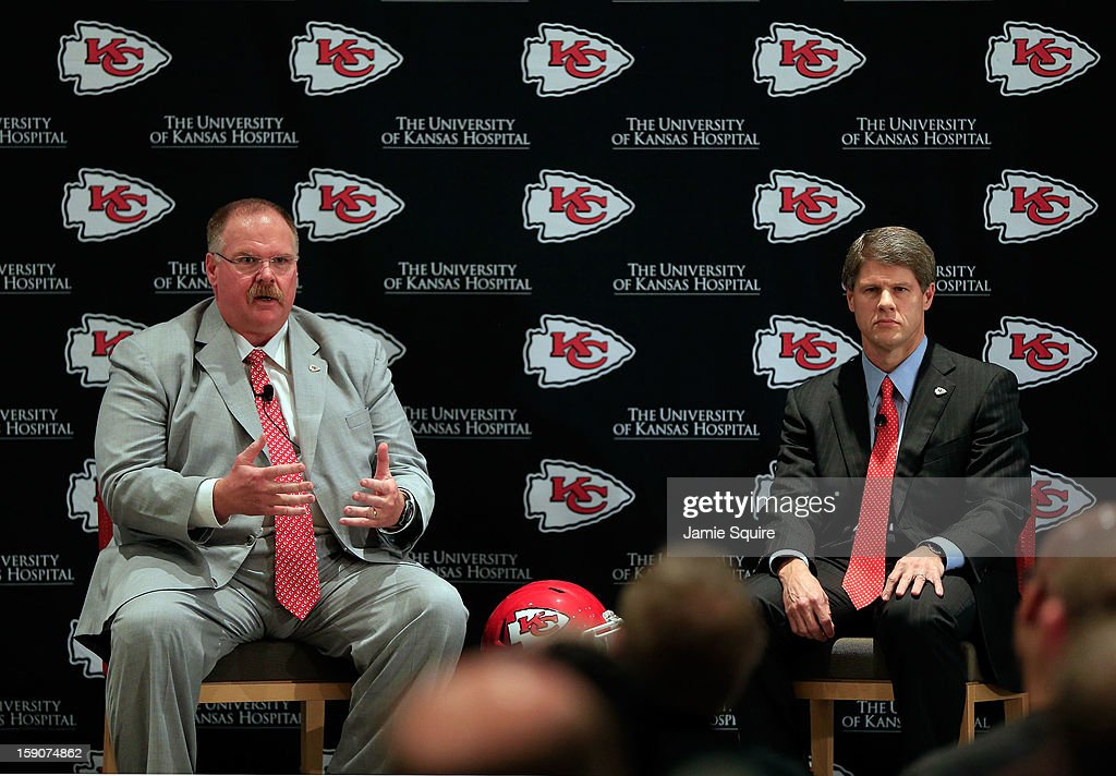 Andy Reid sits with Kansas City Chiefs owner Clark Hunt during a press conference introducing Reid as the Kansas City Chiefs new head coach on January 7, 2013 in Kansas City, Missouri.