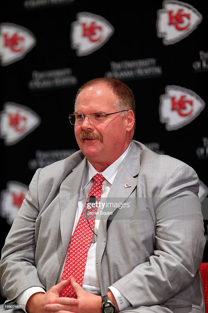 Andy Reid talks to the media during a press conference introducing him as the Kansas City Chiefs new head coach on January 7, 2013 in Kansas City, Missouri.