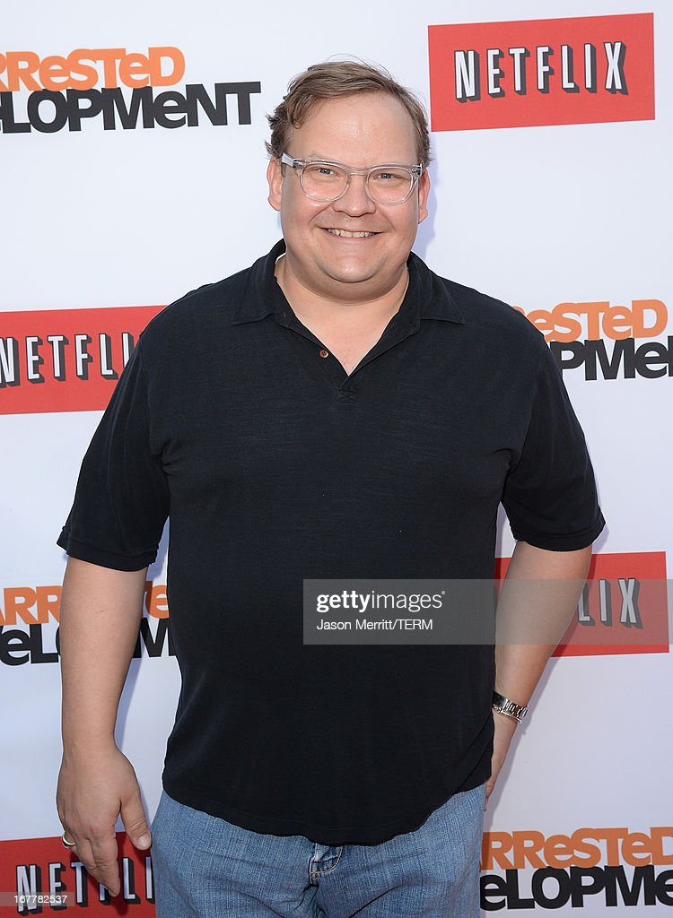 <a gi-track='captionPersonalityLinkClicked' href=/galleries/search?phrase=Andy+Richter&family=editorial&specificpeople=203205 ng-click='$event.stopPropagation()'>Andy Richter</a> arrives at the TCL Chinese Theatre for the premiere of Netflix's 'Arrested Development' Season 4 held on April 29, 2013 in Hollywood, California.