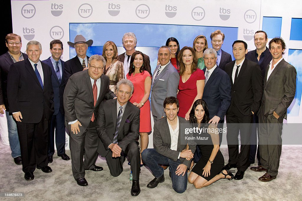 Andy Richter, Chairman and CEO, TBS, Inc Phil Kent, president and head of programming for TNT TBS and TCM Michael Wright, Larry Hagman, President of Turner Entertainment Networks Steve Koonin, Linda Gray, Patrick Duffy, President Entertainment & Animation Sales Donna Speciale , EVP of Turner Entertainment Ad Sales Frank Sgrizzi, Angie Harmon, Eric McCormack, Mary McDonnell, Brenda Strong, Courteney Cox, president of sales, distribution and sports for Turner Broadcasting System, Inc David Levy, Conan O'Brien, Steve Byrne, Vince Vaughn and Noah Wyle attend the TNT/ TBS Upfront 2012 at Hammerstein Ballroom on May 16, 2012 in New York City. 22362_001_0458.JPG