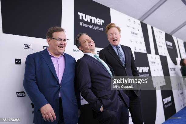 Andy Richter Jake Tapper and Conan O'Brien attend the Turner Upfront 2017 arrivals on the red carpet at The Theater at Madison Square Garden on May...