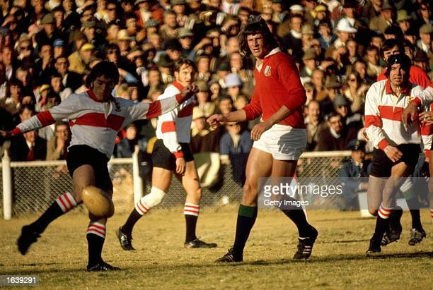 Andy Ripley of the British Lions watches as the ball is cleared during the Rugby Lions tour of South Africa South Africa Mandatory Credit Allsport UK...