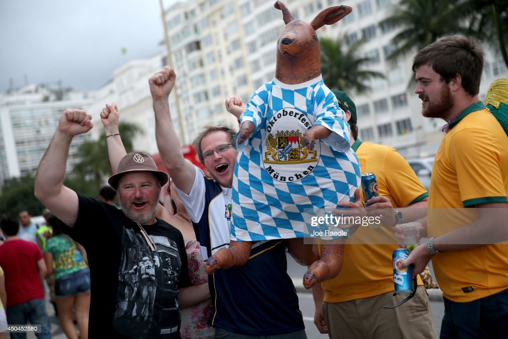 Andy Roberts from Australia holds an inflated kangaroo as he and others cheer for his countries team as they enjoy Copacabana beach while waiting for the start of the 2014 FIFA World Cup on June 11, 2014 in Rio de Janeiro, Brazil. Brazil continues to prepare to host the World Cup which starts on June 12th and runs through July 13th.