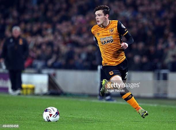 Andy Robertson of Hull City in action during the Capital One Cup Fourth Round match between Hull City and Leicester City at KC Stadium on October 27...
