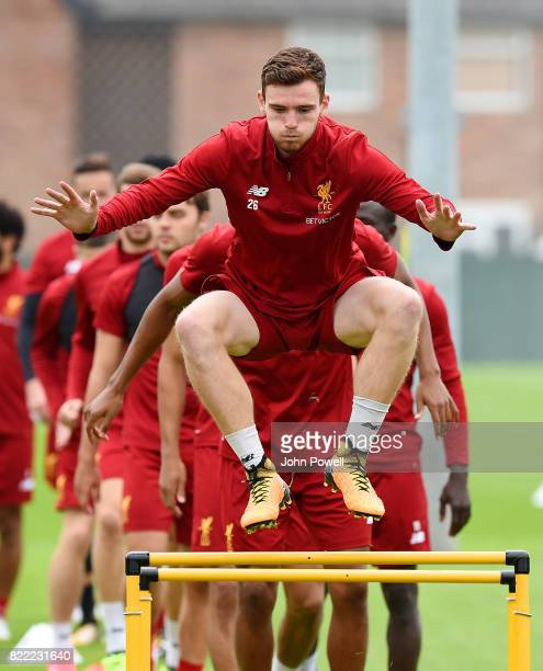 Andy Robertson of Liverpool during a training session at Melwood Training Ground on July 25 2017 in Liverpool England
