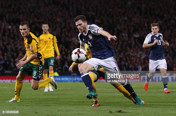 Andy Robertson of Scotland controls the ball during the FIFA 2018 World Cup Qualifier between Scotland and Lithuania at Hampden Park on October 8...