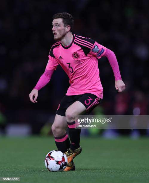 Andy Robertson of Scotland controls the ball during the FIFA 2018 World Cup Qualifier between Scotland and Slovakia at Hampden Park on October 5 2017...