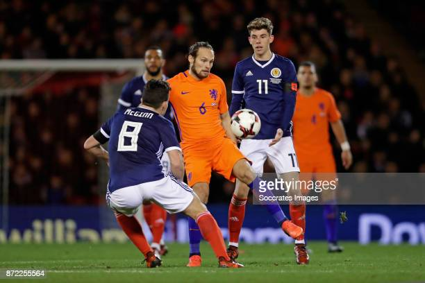 Andy Robertson of Scotland Daley Blind of Holland Ryan Christie of Scotland during the International Friendly match between Scotland v Holland at the...