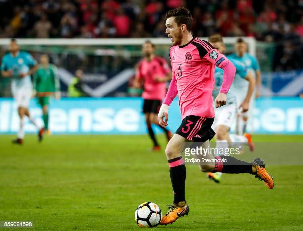 Andy Robertson of Scotland in action during the FIFA 2018 World Cup Qualifier match between Slovenia and Scotland at stadium Stozice on October 08...