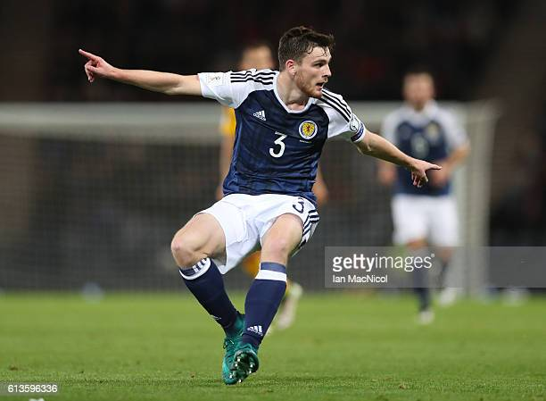 Andy Robertson of Scotland is seen during the FIFA 2018 World Cup Qualifier between Scotland and Lithuania at Hampden Park on October 8 2016 in...