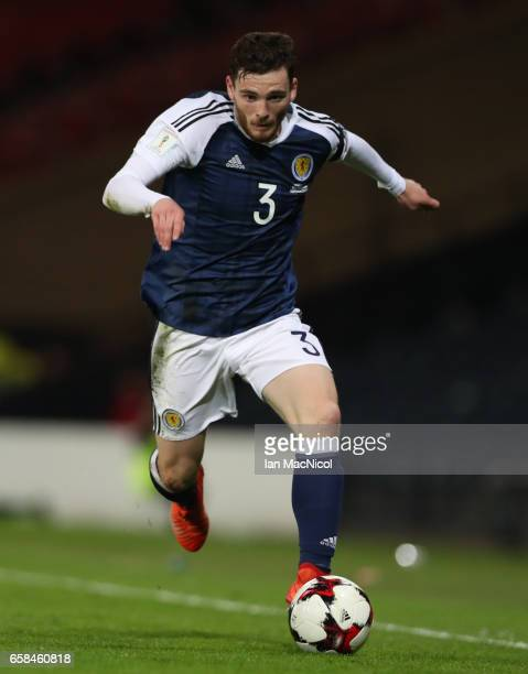 Andy Robertson of Scotland is seen during the FIFA 2018 World Cup Qualifier between Scotland and Slovenia at Hampden Park on March 26 2017 in Glasgow...