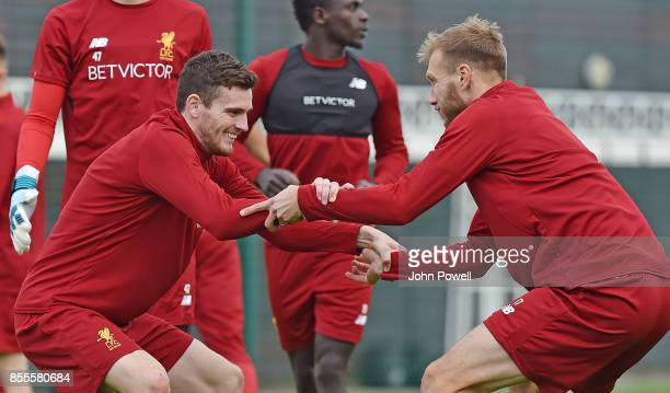 Andy Robertson with Ragnar Klavan of Liverpool during training at Melwood Training Ground on September 29 2017 in Liverpool England