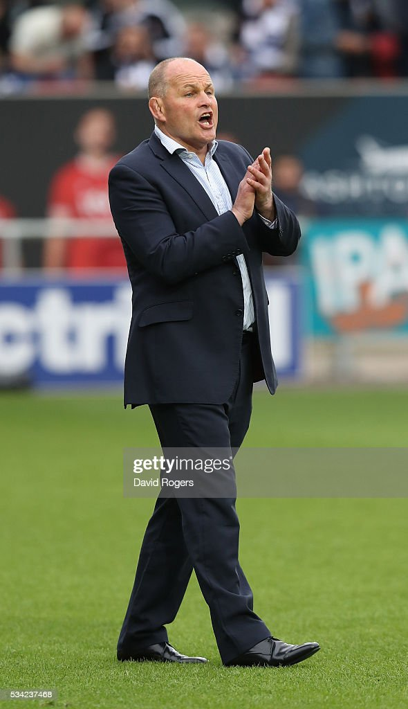 <a gi-track='captionPersonalityLinkClicked' href=/galleries/search?phrase=Andy+Robinson+-+Rugby+Coach&family=editorial&specificpeople=171172 ng-click='$event.stopPropagation()'>Andy Robinson</a>, the Bristol director of rugby looks on during the Greene King IPA Championship Play Off Final second leg match between Bristol and Doncaster Knights at Ashton Gate on May 25, 2016 in Bristol, England.
