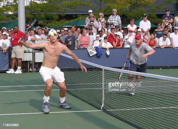 Andy Roddick and John Roddick practice at the USTA National Tennis Center in Flushing New York on September 4 2004