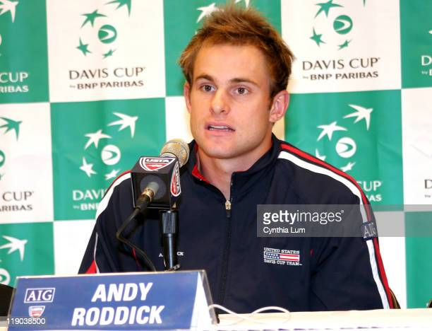 Andy Roddick at pre Davis Cup Press Conference at WinstonSalem North Carolina on April 3 2007