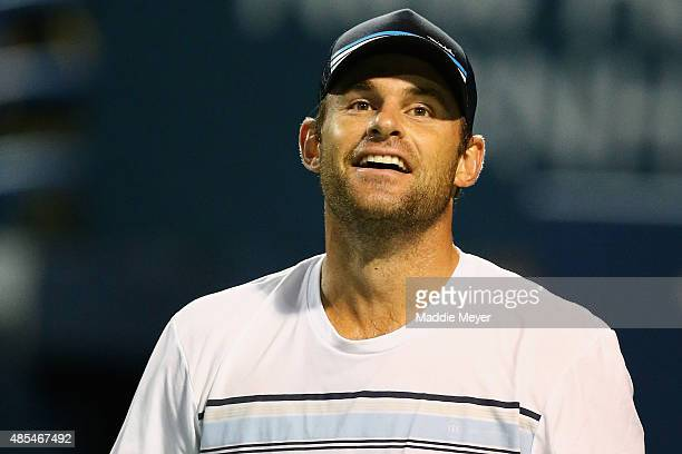 Andy Roddick looks on during his match against James Blake as part of the Men's Legends presented by PowerShares Series on Day 4 of the Connecticut...