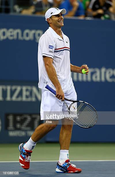 Andy Roddick of the United States celebrates match point during his men's singles second round match against Bernard Tomic of Australia on Day Five...