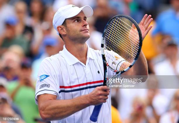 Andy Roddick of the United States waves to the crowd after losing to Juan Martin Del Potro of Argentina after their men's singles fourth round match...