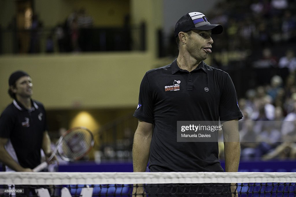 <a gi-track='captionPersonalityLinkClicked' href=/galleries/search?phrase=Andy+Roddick&family=editorial&specificpeople=167084 ng-click='$event.stopPropagation()'>Andy Roddick</a> of the U.S. reacts during the exhibition doubles match against John Isner and Jean-Julien Rojer during the 2013 Mylan WTT Smash Hits on November 17, 2013 at the ESPN Wide World of Sports Complex in Lake Buena Vista, Florida.