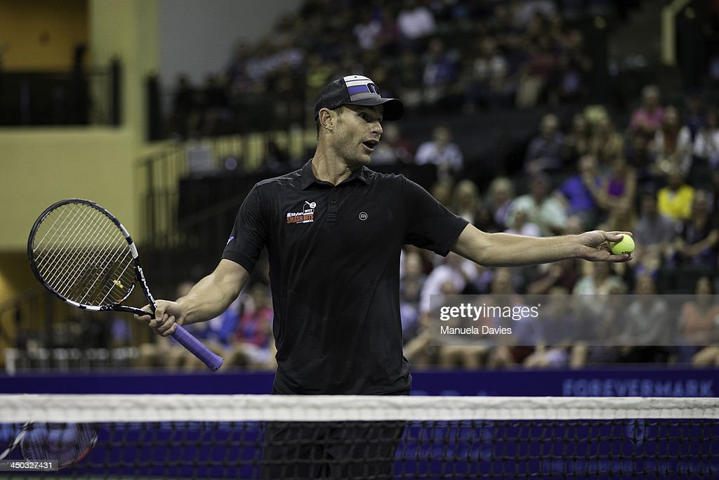 Andy Roddick of the U.S. reacts during the exhibition doubles match against John Isner and Jean-Julien Rojer during the 2013 Mylan WTT Smash Hits on November 17, 2013 at the ESPN Wide World of Sports Complex in Lake Buena Vista, Florida.