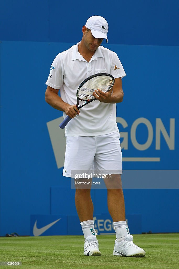 Andy Roddick of the USA reacts during his mens singles second round match against Edouard Roger-Vasselin of France on day three of the AEGON Championships at Queens Club on June 13, 2012 in London, England.