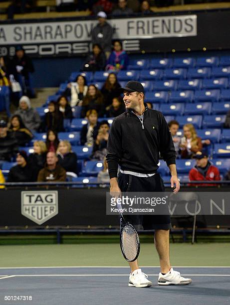 Andy Roddick of USA attends the Maria Sharapova and Friends tennis exhibition at UCLA on December 12 2015 in Los Angeles California