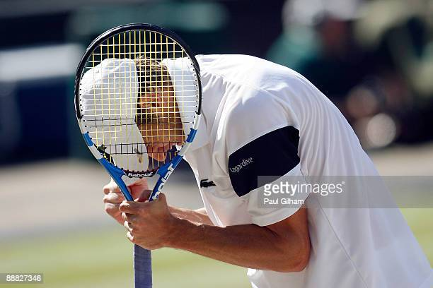 Andy Roddick of USA celebrates during the men's singles final match against Roger Federer of Switzerland on Day Thirteen of the Wimbledon Lawn Tennis...