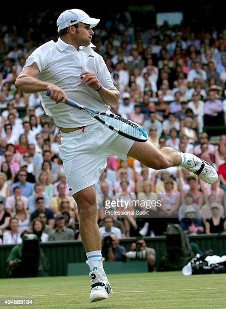 Andy Roddick of USA in action against Jiri Vanek of Czech Republic during the first round of the Wimbledon Lawn Tennis Championship on June 21 2005...