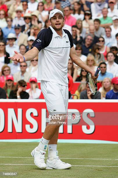 Andy Roddick of USA shrugs his shoulders during the singles final against Nicolas Mahut of France during Day 7 of the Artois Championships at The...