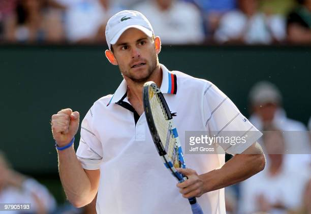 Andy Roddick pumps his fist after winning a point against Robin Soderling of Sweden during the BNP Paribas Open at the Indian Wells Tennis Garden on...