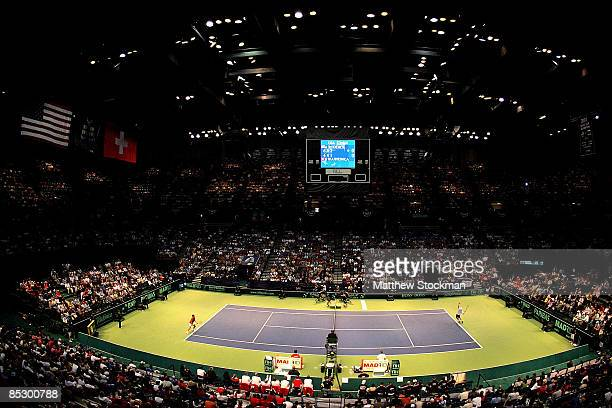 Andy Roddick serves to Stanislas Wawrinka of Switzerland in the first set during the fourth rubber of their Davis Cup tie at BirminghamJefferson...