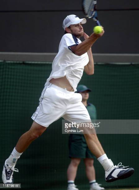 Andy Roddick up one set to love against Mario Ancic before rain stops match at 64 43 in their semifinal match July 2 2004