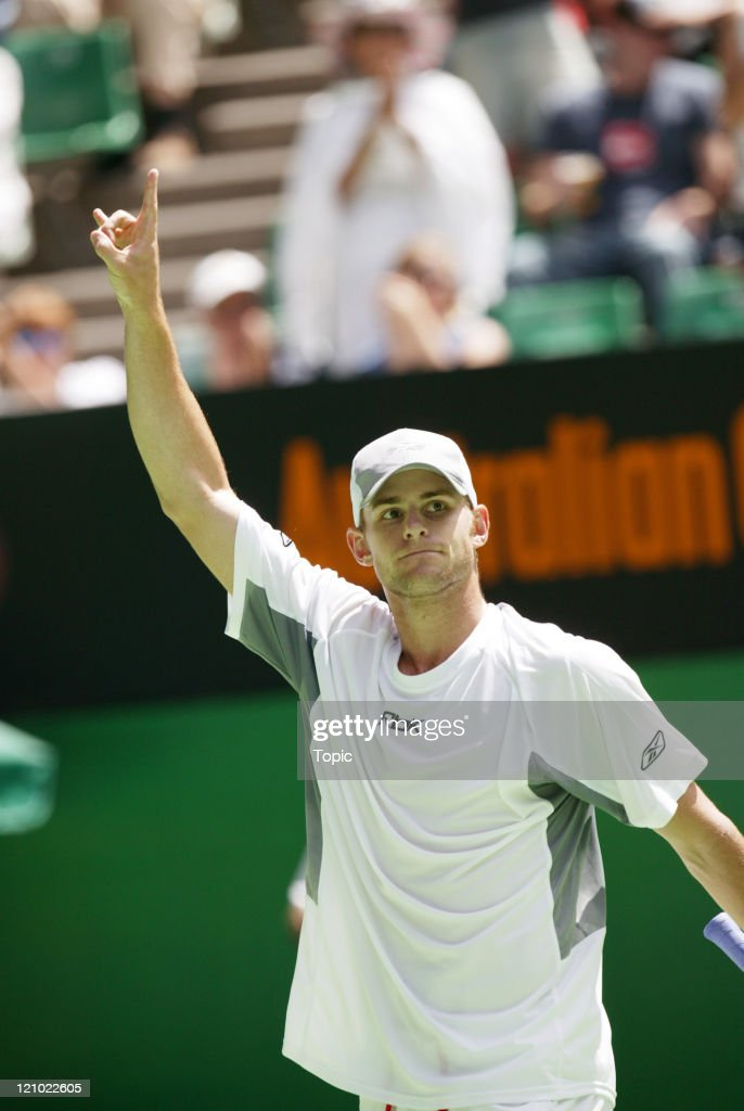 <a gi-track='captionPersonalityLinkClicked' href=/galleries/search?phrase=Andy+Roddick&family=editorial&specificpeople=167084 ng-click='$event.stopPropagation()'>Andy Roddick</a> (USA) vs <a gi-track='captionPersonalityLinkClicked' href=/galleries/search?phrase=Jurgen+Melzer&family=editorial&specificpeople=200702 ng-click='$event.stopPropagation()'>Jurgen Melzer</a> (AUT) during the third round of the Australian Open at Melbourne Park in Melbourne, Australia on January 22, 2005.