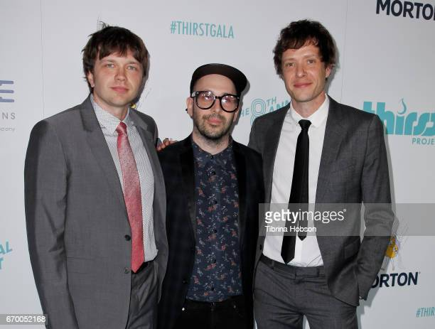 Andy Ross Tim Nordwind and Damian Kulash of OK Go attend the 8th annual Thirst Gala at The Beverly Hilton Hotel on April 18 2017 in Beverly Hills...