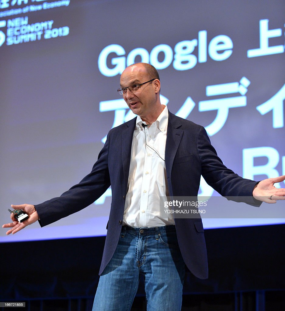 Andy Rubin, Google senior vice president speaks at a conference of the New Economy Summit 2013 in Tokyo on April 16, 2013. Entrepreneurs of information technology (IT) and online business on April 16 gathered at a one-day conference, hosted by Japan Association of New Economy (JANE), led by Japanese electronic commerce giant Rakuten's Hiroshi Mikitani. AFP PHOTO / Yoshikazu TSUNO