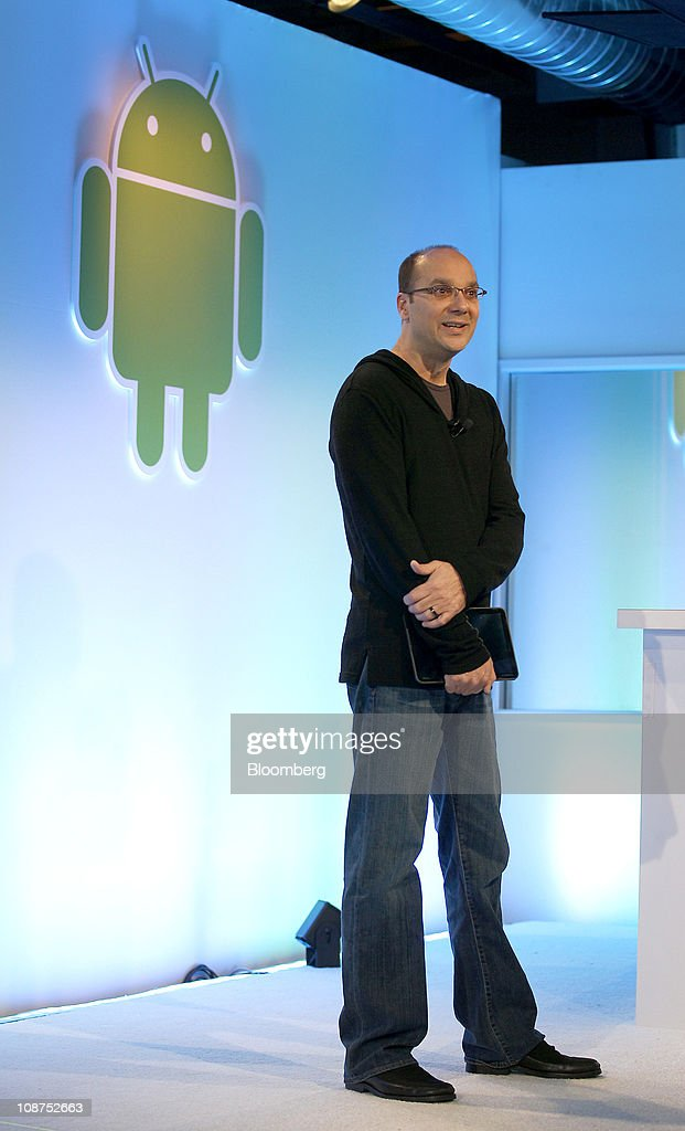 Andy Rubin, vice president of engineering at Google Inc., talks about the Android 3.0 Honeycomb operating system during a news conference at company headquarters in Mountain View, California, U.S., on Wednesday, Feb. 2, 2011. Google Inc., owner of the world's most popular Internet search engine, opened a Web browser-based market for users of its Android smartphone software to buy applications as it battles Apple Inc. for market share. Photographer: Tony Avelar/Bloomberg via Getty Images