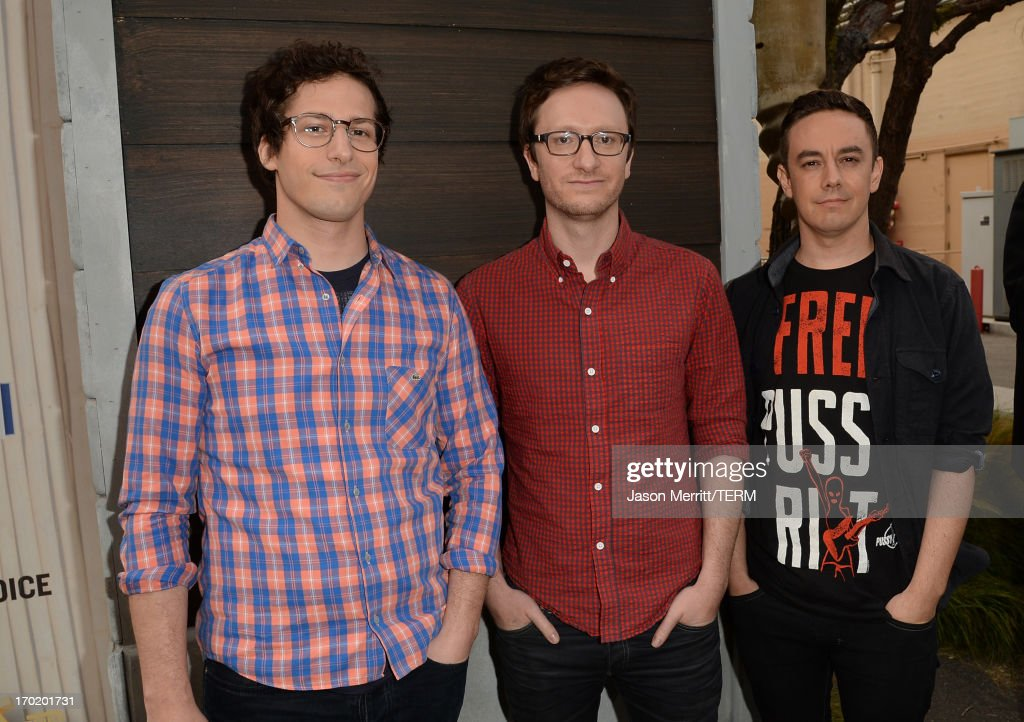 <a gi-track='captionPersonalityLinkClicked' href=/galleries/search?phrase=Andy+Samberg&family=editorial&specificpeople=595651 ng-click='$event.stopPropagation()'>Andy Samberg</a>, Akiva Schaffer and <a gi-track='captionPersonalityLinkClicked' href=/galleries/search?phrase=Jorma+Taccone&family=editorial&specificpeople=4432803 ng-click='$event.stopPropagation()'>Jorma Taccone</a> attend Spike TV's 'Guys Choice 2013' at Sony Pictures Studios on June 8, 2013 in Culver City, California.