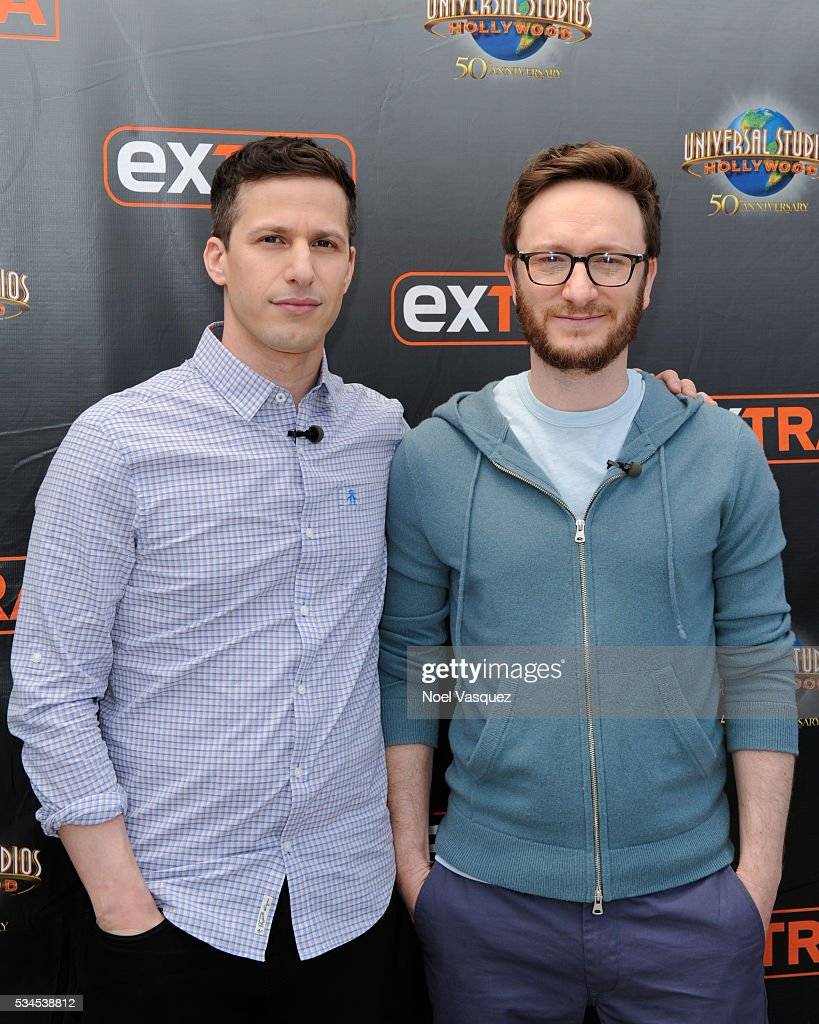 <a gi-track='captionPersonalityLinkClicked' href=/galleries/search?phrase=Andy+Samberg&family=editorial&specificpeople=595651 ng-click='$event.stopPropagation()'>Andy Samberg</a> (L) and <a gi-track='captionPersonalityLinkClicked' href=/galleries/search?phrase=Akiva+Schaffer&family=editorial&specificpeople=4378588 ng-click='$event.stopPropagation()'>Akiva Schaffer</a> visit 'Extra' at Universal Studios Hollywood on May 26, 2016 in Universal City, California.