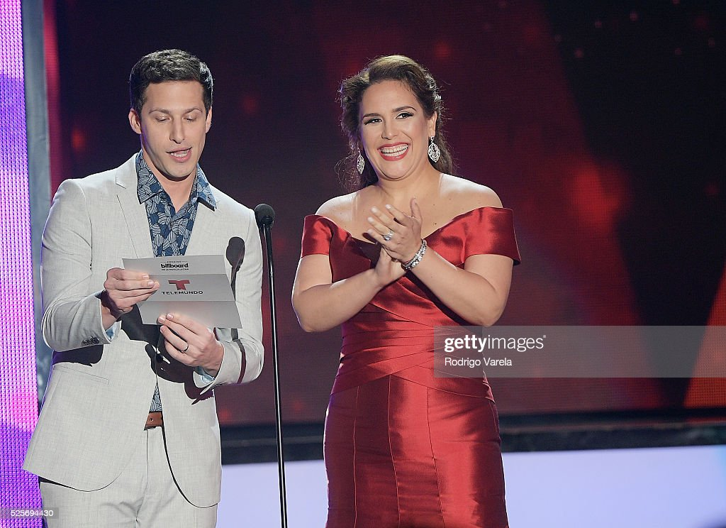 Andy Samberg and Angelica Vale onstage at the Billboard Latin Music Awards at Bank United Center on April 28, 2016 in Miami, Florida.