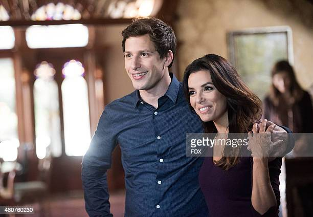 Andy Samberg and Eva Longoria in the 'Road Trip' episode of BROOKLYN NINENINE airing Sunday Nov 30 2014 on FOX