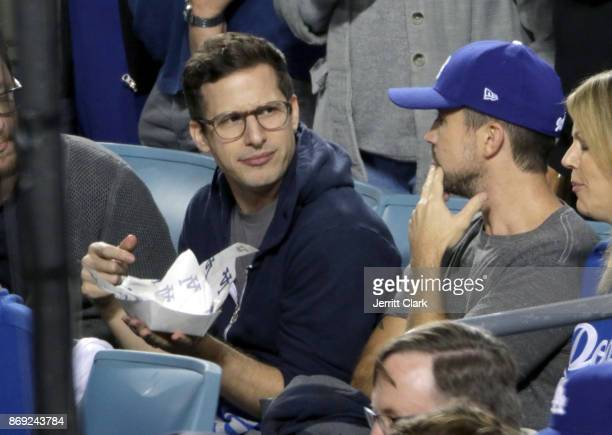 Andy Samberg and Rob McElhenney attend The 2017 World Series Game 7 at Dodger Stadium on November 1 2017 in Los Angeles California